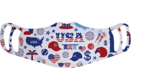 A washable and reusable polyester USA July 4th party pattern printed cloth face mask with two ear holes by each side
